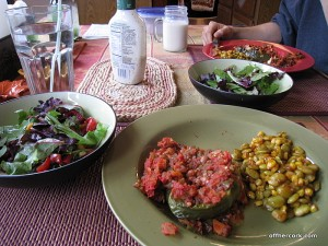 Salad, stuffed pepper, corn and limas