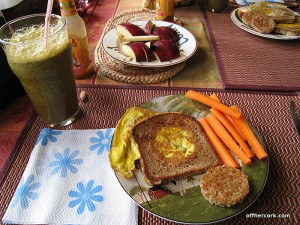 Smoothie, fruit, carrot, egg, and bread