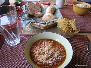 Chili, chips, and bread
