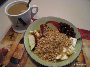 mug, yogurt and fruit with granola