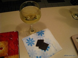 white wine and dark chocolate