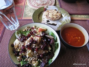 Salad, soup, bread