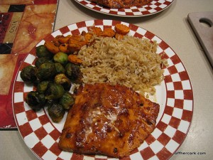 Fish, rice, and veggies