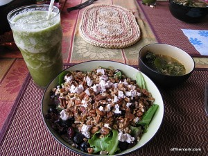 Smoothie, soup, and salad