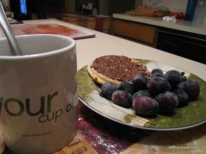 Tea, waffle, grapes