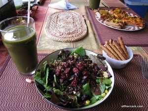 Salad, smoothie, pretzels