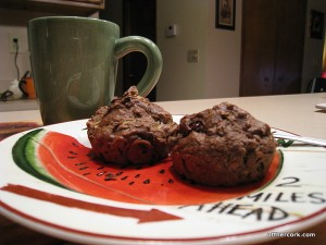 tea and chocolate zucchini muffins