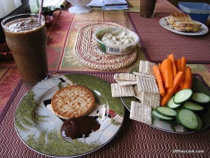 Smoothie, patty, veggies, and crackers with hummus