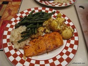 Salmon, veggies, and rice