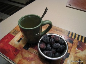 Frozen grapes and tea