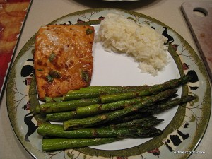 Salmon, asparagus, and rice
