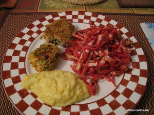 Crabcakes, coleslaw, and polenta