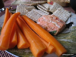 Carrots, salmon, crackers