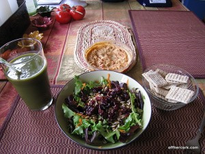 Smoothie, salad, and crackers