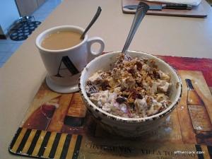 Coffee, granola and yogurt