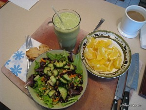 Smoothie, salad, oranges