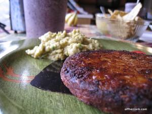 Blackbean burger and guacamole
