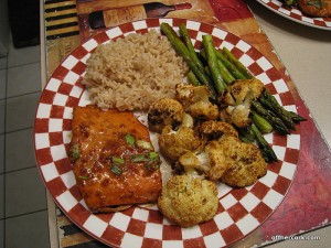 Salmon, veggies, and rice