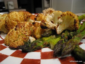 Roasted cauliflower and asparagus