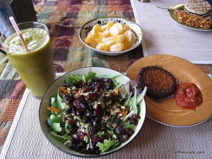 Smoothie, salad, fruit, blackbean burger