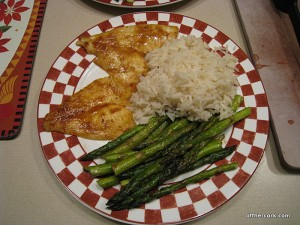Fish, rice, and asparagus
