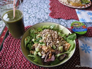 Smoothie, salad, applesauce