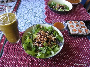 Smoothie, salad, sushi