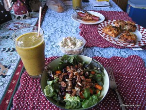 Smoothie, salad, potato salad