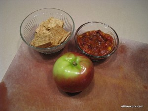 Apple, crackers, and salsa