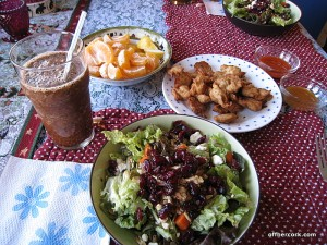Smoothie, salad, fruit, vegan nuggets