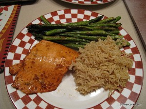 Salmon, asparagus, and brown rice