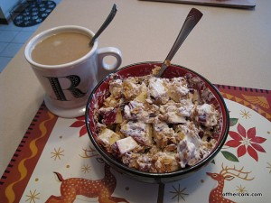 Coffee, yogurt and granola.