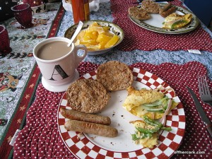 Coffee, sausage, toast, omlette