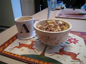 Coffee and yogurt with granola