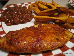 Baked beans, sweet potato fries, baked fish