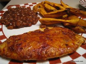Baked beans, sweet potato fries, baked fish