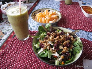 Smoothie, salad, fruit