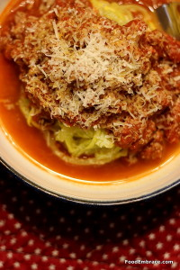 Spiraled squash with spaghetti sauce