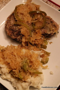 Pork chop with sauerkraut and mashed potatoes