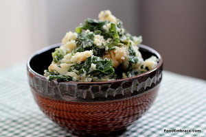 Root Veggie Mash with Sauteed Kale and Caramelized Onions