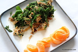 Pulled pork, mustard greens, mandarin orange