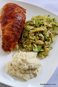 Chicken breast, parsnip mash, sauteed brussels sprouts