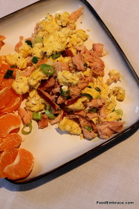 Scramble with smoked salmon