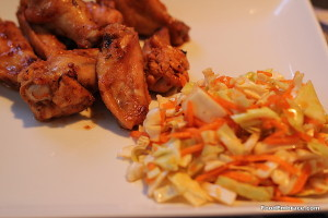 Chicken wings and cole slaw