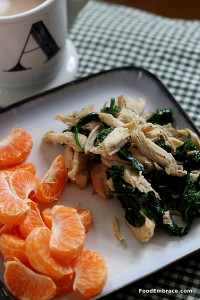 Coffee, mandarin oranges, spinach and chicken