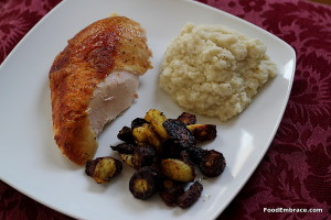 Roast chicken breast, roasted carrots, and cauliflower mash