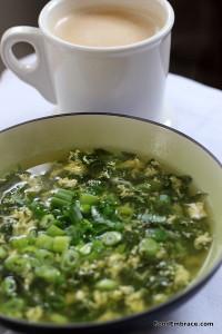 Breakfast soup, coffee