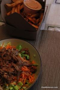 Pulled pork salad, fries