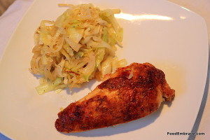 Roast chicken breast and sauteed cabbage