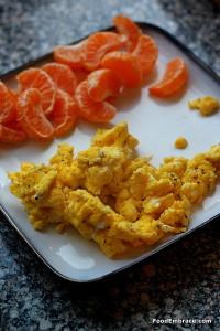 Scrambled eggs, mandarin oranges